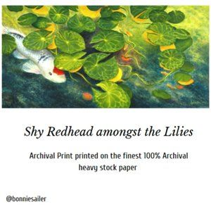 """Other - PRINT – """"SHY REDHEAD AMONGST THE LILIES"""" 6 x 12"""